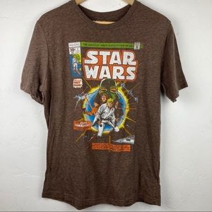 Brown Star Wars Comic Book T-Shirt Size Men's Lrg